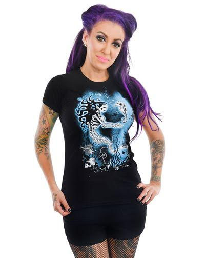 Babydoll Shirt by Too Fast Clothing - Skeleton Pinup Mermaid