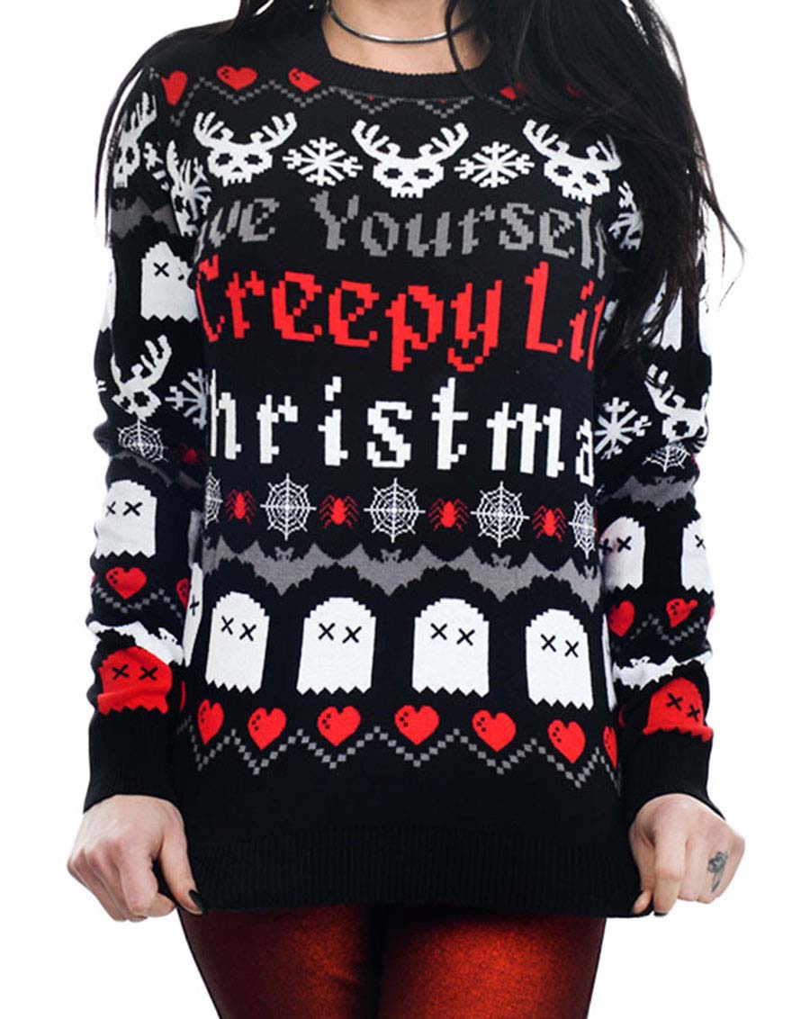 Have Yourself A Creepy Little Christmas Sweater by Too Fast / Rat Baby Clothing - SALE sz M & XL only