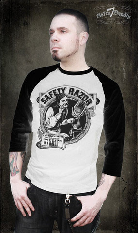 Safety Razor Guys Barber baseball t-shirt by Se7en Deadly