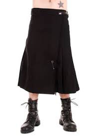 Mens Long Cotton Kilt by Tiger of London - black