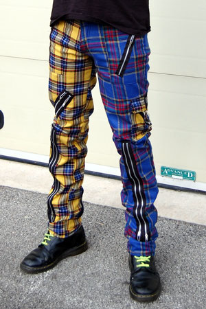Original 15 Zip Bondage Pants (Wool Blend) by Tiger Of London- SPLIT LEG BLUE/YELLOW PLAID