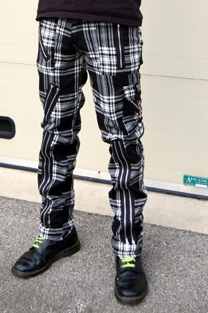 Original 15 Zip Bondage Pants (Wool Blend) by Tiger Of London- BLACK & WHITE PLAID