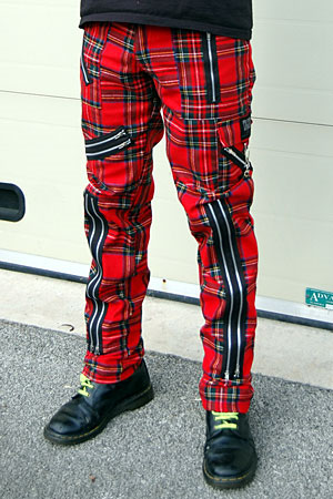 Original 15 Zip Bondage Pants (Wool Blend) by Tiger Of London- RED PLAID sz 44 & 46 only