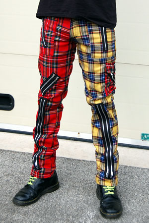 Original 15 Zip Bondage Pants (Wool Blend) by Tiger Of London- SPLIT LEG RED/YELLOW PLAID