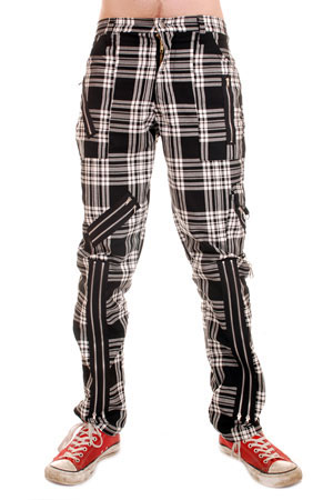 Original 15 Zip Bondage Pants (Cotton Blend) by Tiger Of London- Black & White Plaid