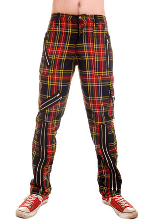 Original 15 Zip Bondage Pants (Cotton Blend) by Tiger Of London- Multi Plaid