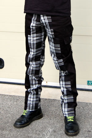 Deviant Bondage Pants by Tiger Of London- BLACK WITH WHITE PLAID sz 26 only