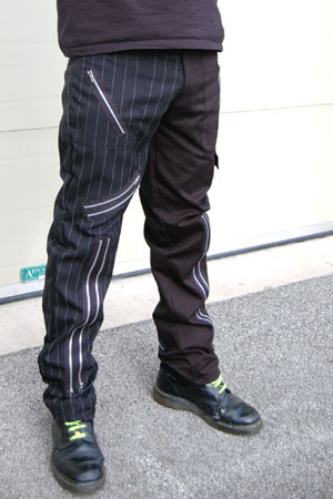 Original 15 Zip Bondage Pants by Tiger Of London- SPLIT LEG BLACK/PINSTRIPE sz 30 only