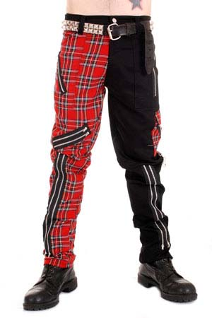 Split Leg Bondage Pants by Tiger Of London- BLACK WITH RED PLAID