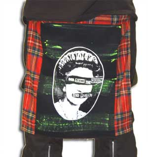 Red Plaid Bum Flap With God Save The Queen Print by Tiger Of London