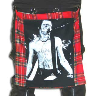 Red Plaid Bum Flap With Sid Vicious Print by Tiger Of London