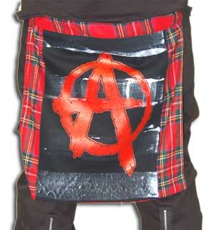Red Plaid Bum Flap With Anarchy Print by Tiger Of London
