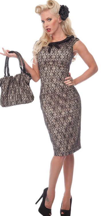 Lace Overlay Beige Pencil Dress by VooDoo Vixen - SALE sz XL only