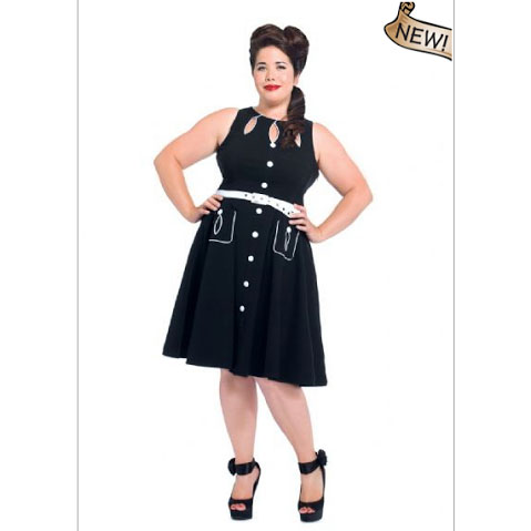 Plus Sized Retro Keyhole Flared Black Gretta Dress by VooDoo Vixen - sz 3X only - SALE