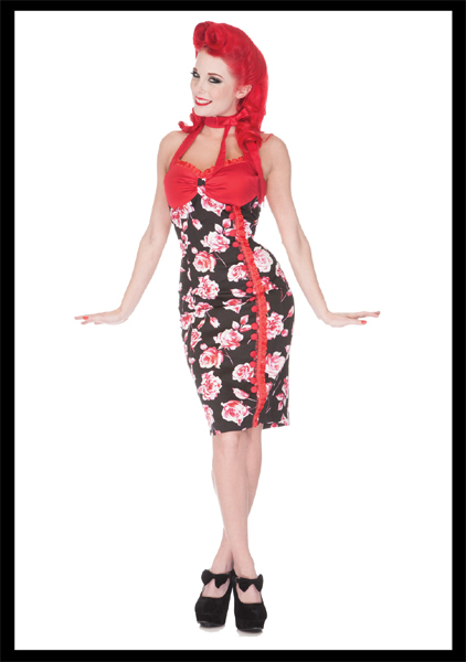 Red Blush Rose Pencil Dress by Voodoo Vixen - SALE sz L only