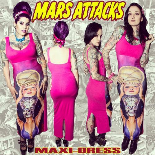 Mars Attacks Spy Girl Maxi Dress by Kreepsville 666 - SALE sz M only