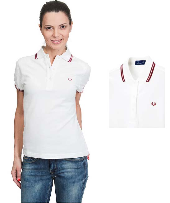 Fred Perry Twin Tipped Girls Polo Shirt- SNOW WHITE/BLACK (Sale price!)