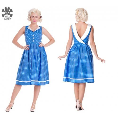 Karen Dress by Hell Bunny - in Blue Polka Dot - SALE sz S only