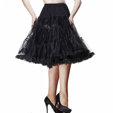 "Long Black 25"" Petticoat by Hell Bunny"