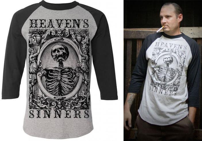 Heavens Sinner Guys baseball t-shirt by Se7en Deadly