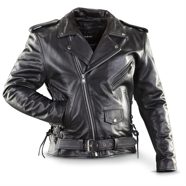 Naked Cowhide (Top Quality) Black Leather Biker Jacket With Side Lacing & Zip Out Liner by IK Leather