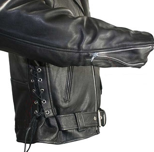 eb56591e41c Naked Cowhide (Top Quality) Black Leather Biker Jacket With Side Lacing    Zip Out Liner by ...