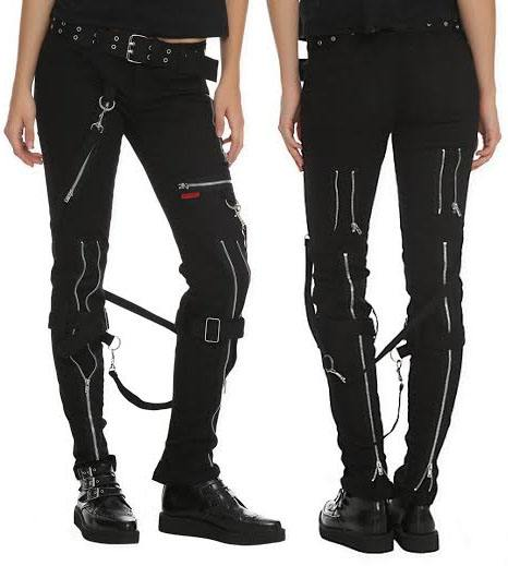 Girls Black Cotton Bondage Pants w Straps by Tripp NYC