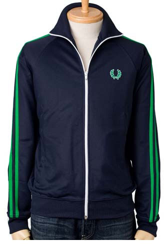 Fred Perry Twin Striped Track Jacket- CARBON BLUE FERN GREEN ... d9bba20d5