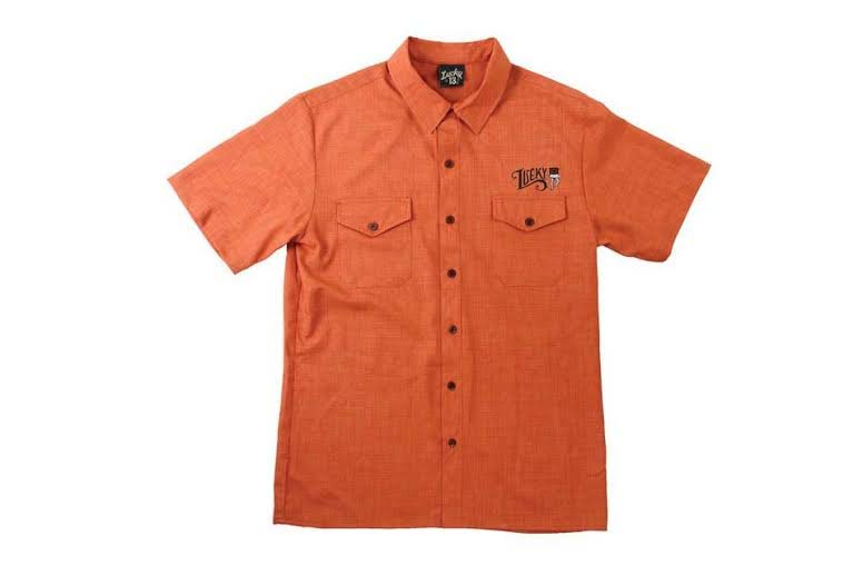 Keep Walking embroidered legs & top hat short sleeve button up shirt by Lucky 13 - in rust - SALE sz M only
