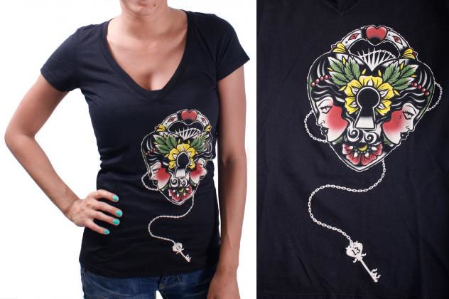 Heart Lock V Neck Shirt by Lucky 13  - SALE sz S & 2X only