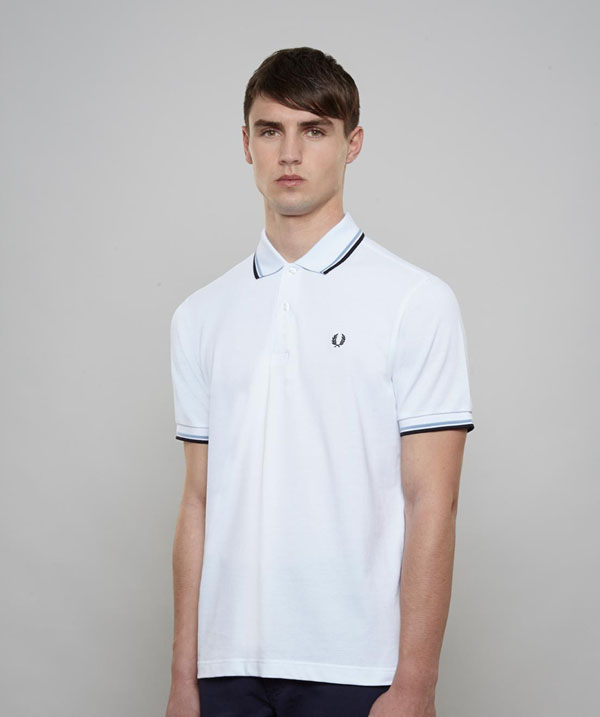 fred perry classic fit twin tipped polo shirt white ice. Black Bedroom Furniture Sets. Home Design Ideas