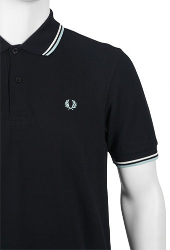 fred perry classic fit twin tipped polo shirt navy ecru. Black Bedroom Furniture Sets. Home Design Ideas