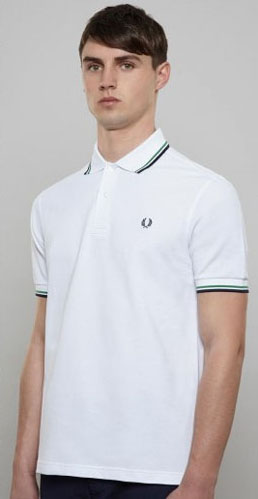 fred perry classic fit twin tipped polo shirt white. Black Bedroom Furniture Sets. Home Design Ideas