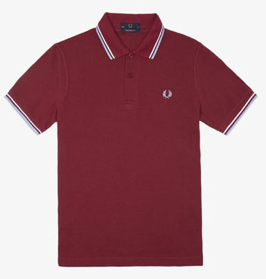 Fred Perry Laurel Collection Twin Tipped Polo Shirt- MAROON /WHITE ...