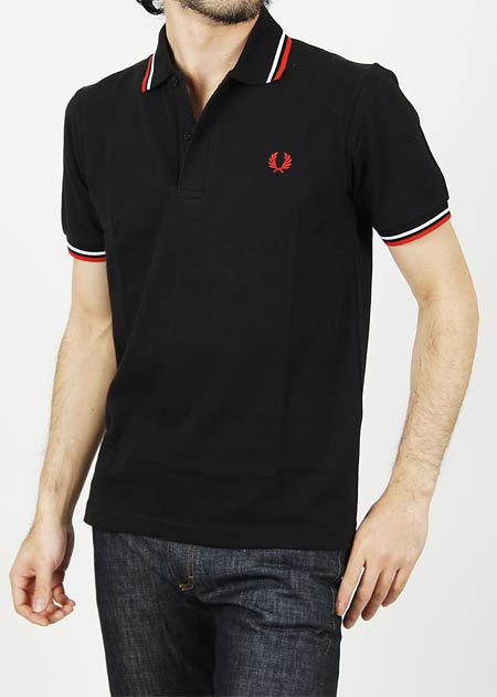 reputable site fashionable patterns factory price Fred Perry Laurel Collection Twin Tipped Polo Shirt- BLACK / WHITE / BRIGHT  RED (Made In England!)