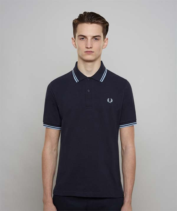 Fred Perry Laurel Collection Twin Tipped Polo Shirt- NAVY / ICE / ICE (Made  In England!)