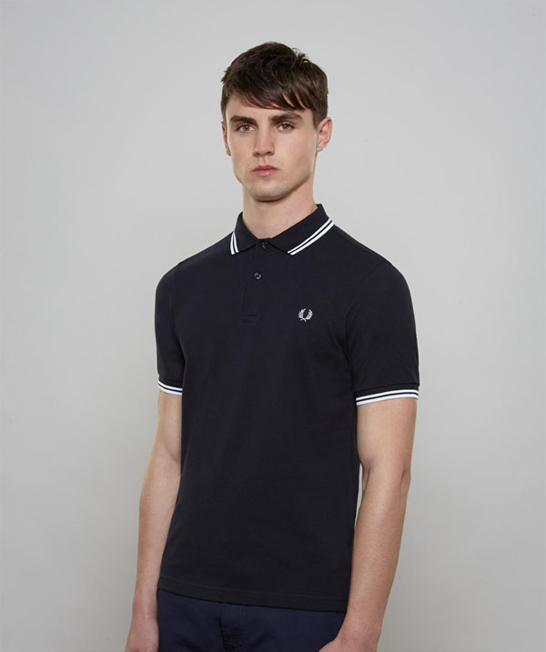 fred perry slim fit polo shirt navy white white sale. Black Bedroom Furniture Sets. Home Design Ideas