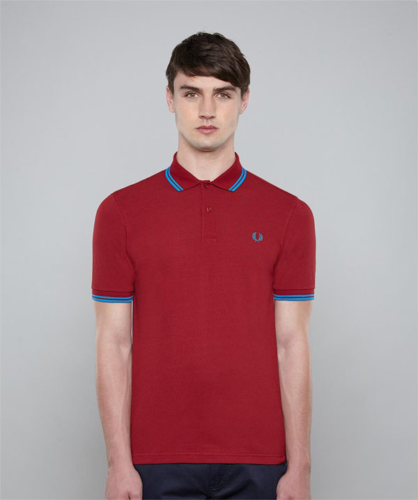 fred perry slim fit polo shirt rosso clr blue sale price. Black Bedroom Furniture Sets. Home Design Ideas