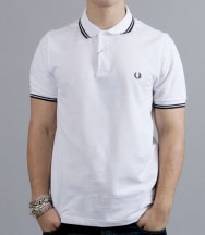 fred perry slim fit polo shirt white black black. Black Bedroom Furniture Sets. Home Design Ideas