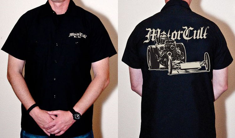 Drag Worx on a black short sleeve work shirt by Motorcult - SALE sz S only