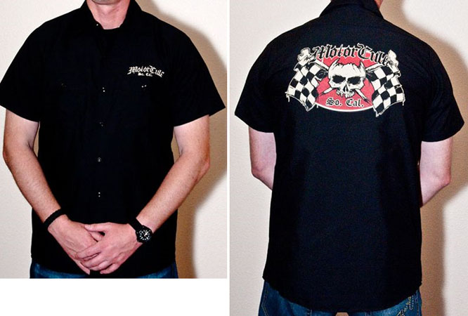 Monster Worx on a black short sleeve work shirt by Motorcult (Sale price!)