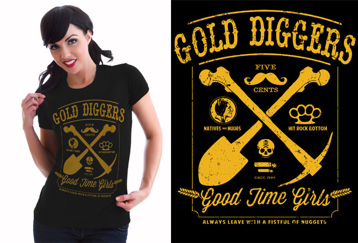 Gold Diggers girls shirt by Steady Clothing - SALE sz XL only