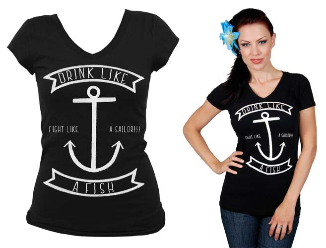 Drink Like a Fish girls V Neck Shirt by Steady Clothing - SALE sz M only