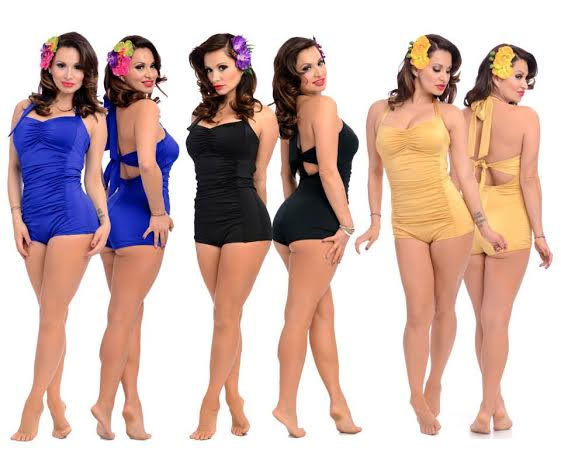 Nancy Retro Bathing Suit by Steady Clothing  - choose gold or royal blue - SALE