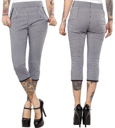 Lucy Gingham Capris by Sourpuss - Black & White - SALE