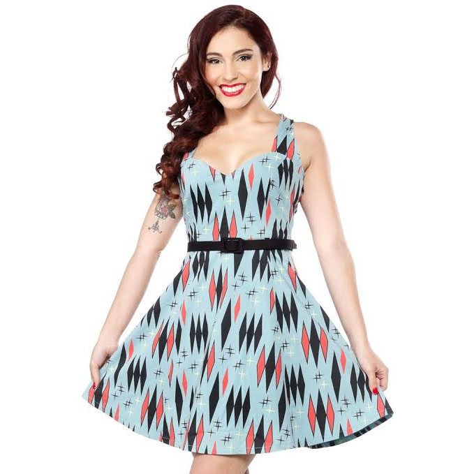 Twinkletoes Retro Print Dress by Sourpuss