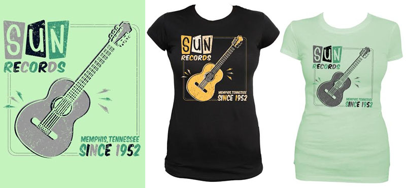 Sun Records Retro Rock N Roll Guitar on a girls fitted shirt from Steady Clothing - choose black or mint - SALE size 2X only
