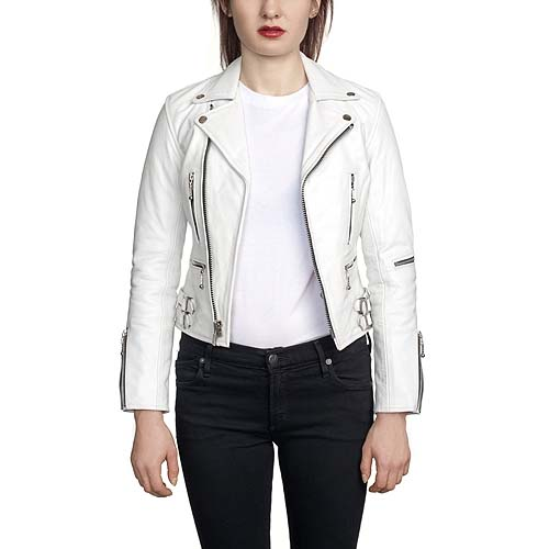 Ladys Defector Leather Jacket In White By Straight To Hell