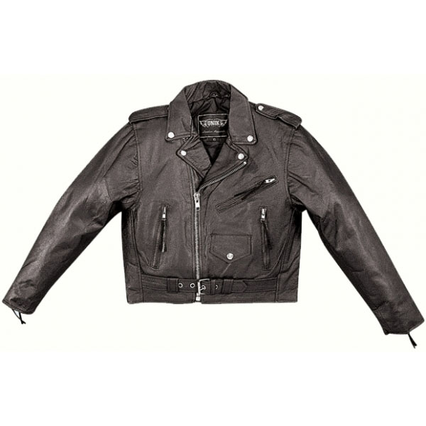 Kids Black Leather Biker Jacket by Highway Hawks (Unik Leather)