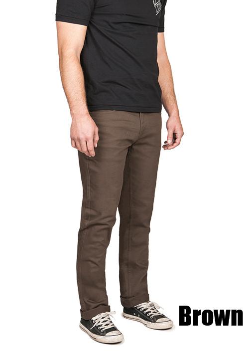 Grain Slim Fit 5 Pocket Jean by Brixton- BROWN